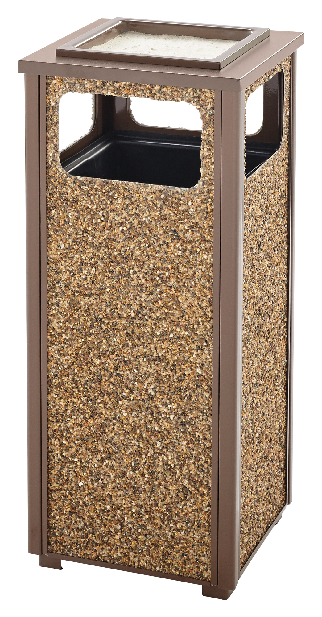 R12SU  Aspen Series 12 Gallon Trash Receptacle with Sand Urn Top
