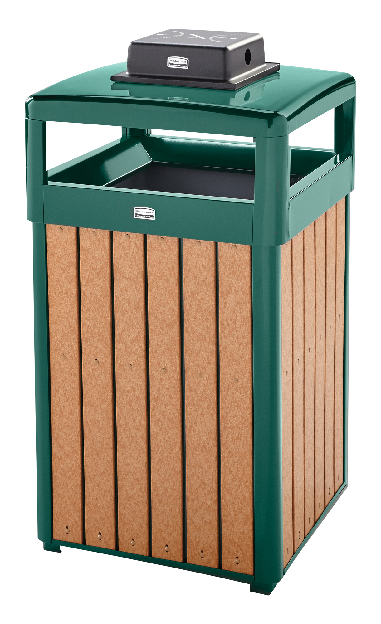R34HTWU50  Regent Series 29 Gallon Trash Receptacle with Hinged Dome Top & Weather Urn