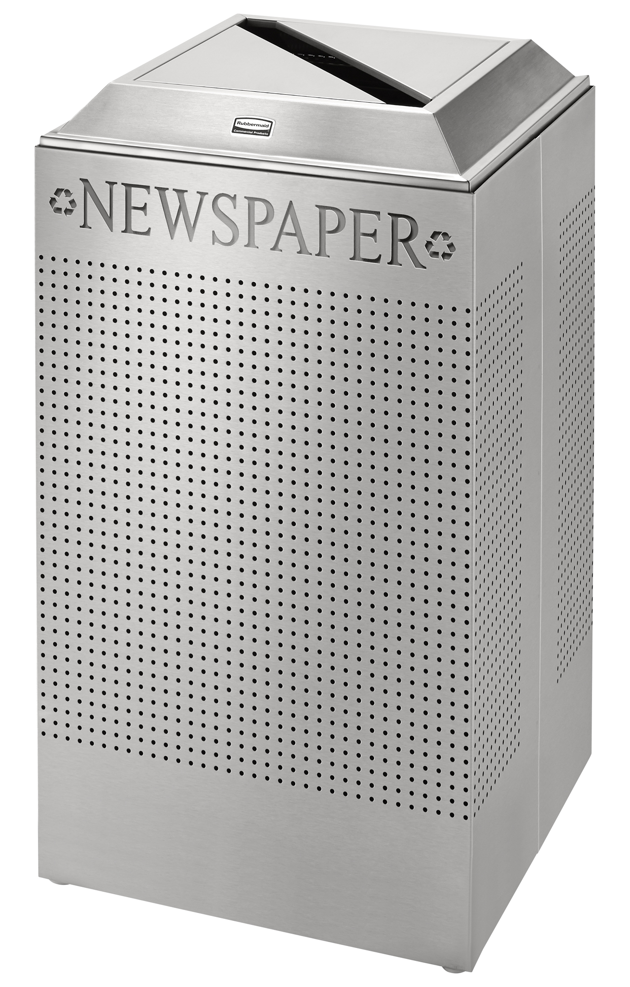 DCR24P  Silhouettes Collection 29 Gallon Square Recycling Receptacle with Paper/Newspaper Lid