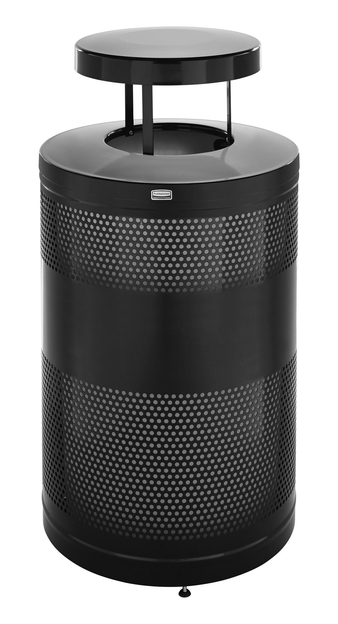 S55ETWS  Silhouettes Collection 51 Gallon Round Open Top Trash Receptacle with Weather Shield