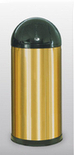 R32SBS  Stain Brass Collection 15 Gallon Dome Top Trash Receptacle with Push Door