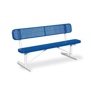 D1060 Victory 6' Perforated Steel Bench with Back (Portable/Surface Mounted)