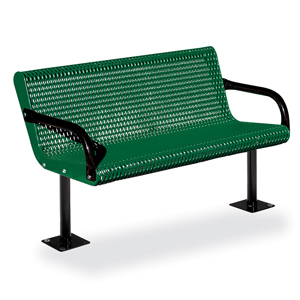 F1033 Courtyard 4' Expanded Steel Bench (Surface Mounted)