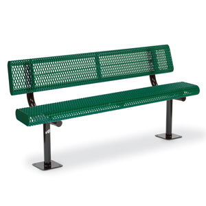 F1052 Victory 6' Rolled Edge Expanded Steel Bench with Back (Surface Mounted)