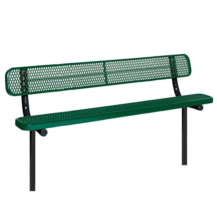 F1064  Victory Collection 8 Expanded Steel Bench with Back (InGround Mounted)