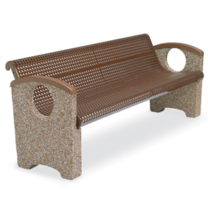 OTSPCBEN6  Balance Collection 6' Contour Bench with Perforated Steel Seat & Ends without Cast Inserts