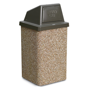 PCS30HT  Structure Collection 30 Gallon Stone Trash Receptacle with Push Door Top