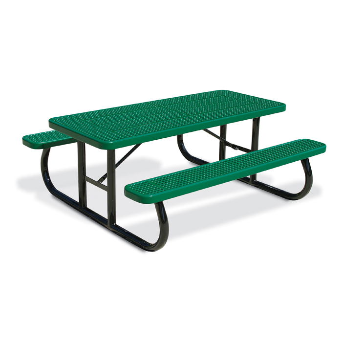 Rectangular 6 Perforated Steel Picnic Table Portable