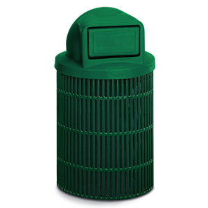 L1336D  Ultra Collection 32 Gallon Slotted Steel Trash Receptacle with Dome Top