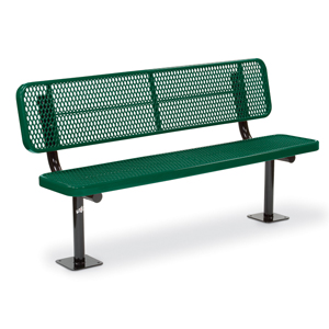 F1339 Victory 6' Deep Seat Expanded Steel Bench with Back (Surface Mounted)