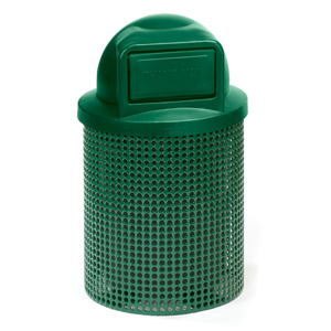 D1021D  Ultra Collection 32 Gallon Perforated Steel Trash Receptacle with Dome Top
