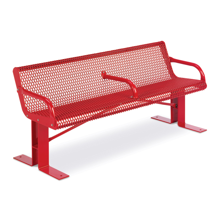 Courtyard 6 Expanded Steel Contour Bench With Rolled Edge
