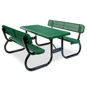 Ultra Heavy Duty Expanded Steel Rectangular Picnic Table With - Picnic table with backrest