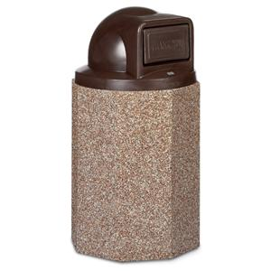 Structure Collection 55 Gallon Stone Trash Receptacle with Push-Door Dome Lid