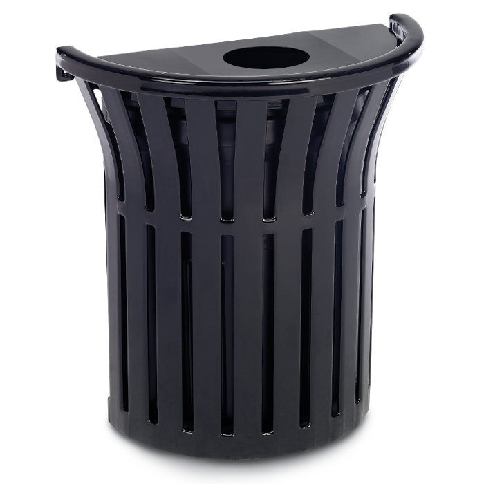L1377  Rendezvous 16 Gallon Wall Mounted Half Round Trash Receptacle