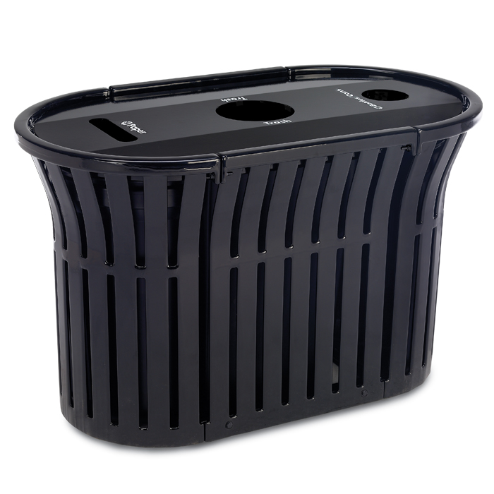 L1382  Rendezvous 69 Gallon Triple Recycling Receptacle