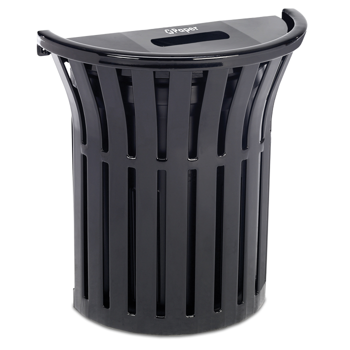 L1377S  Rendezvous 16 Gallon Wall Mounted Half Round Recycling Receptacle - Paper
