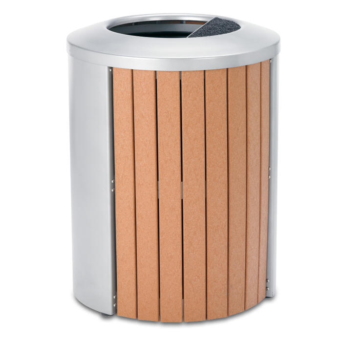 TR35AT  Madison Collection 35 Gallon Recycled Plastic Open Top Ash/Trash Receptacle