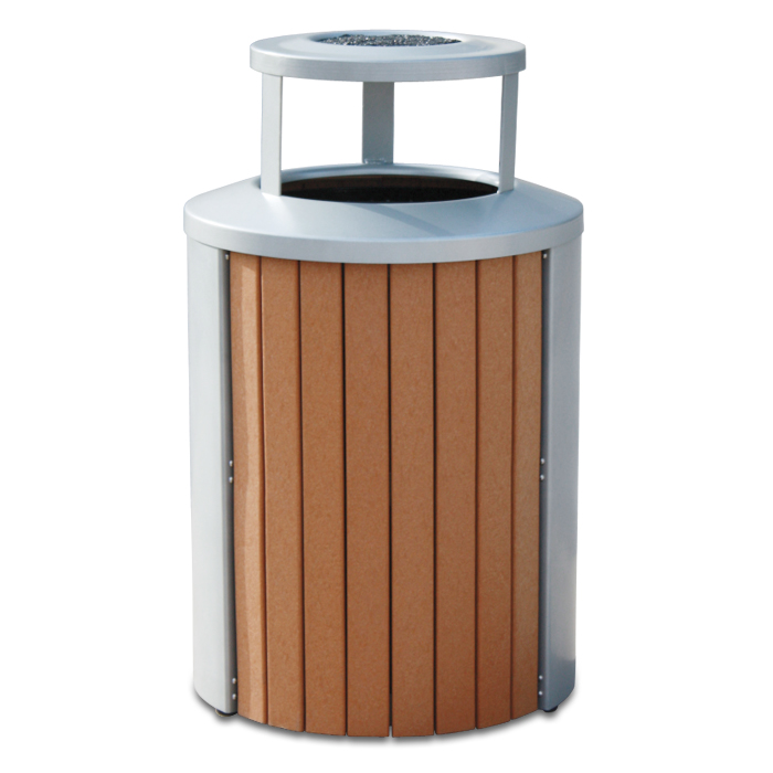 TR35BTA  Madison Collection 35 Gallon Recycled Plastic Trash Receptacle with Ash Bonnet Top