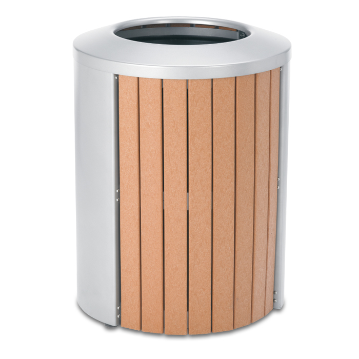 TR35OT  Madison Collection 35 Gallon Recycled Plastic Open Top Trash Receptacle