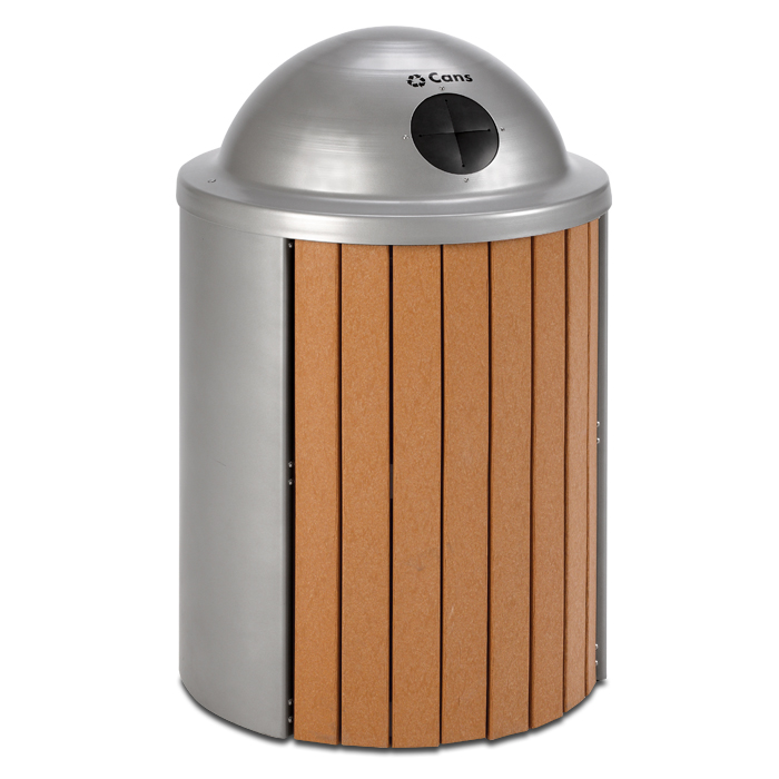 TR35RT  Madison Collection 35 Gallon Recycled Plastic Receptacle with Recycling Top