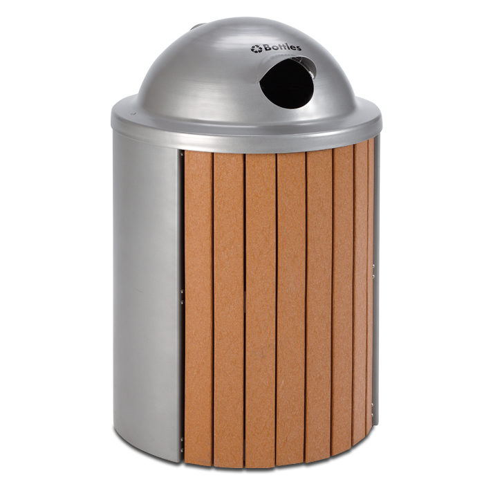 TR35VRT  Madison Collection 35 Gallon Recycled Plastic Receptacle with Visor Recycling Top