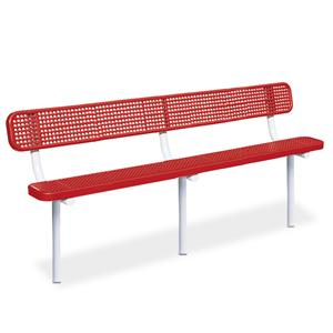 D1200 Victory 10' Perforated Steel Bench with Back (InGround Mounted)