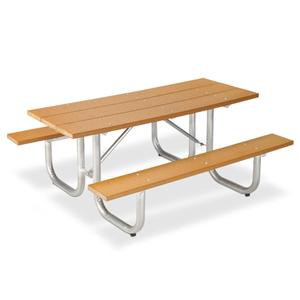 Recycled Plastic Lumber Picnic Table With Galvanized Frame - Picnic table recycled plastic lumber