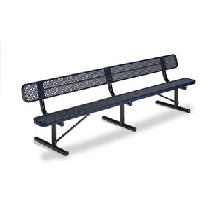 F1202 Victory 10' Expanded Steel Bench with Back (Portable/Surface Mounted)