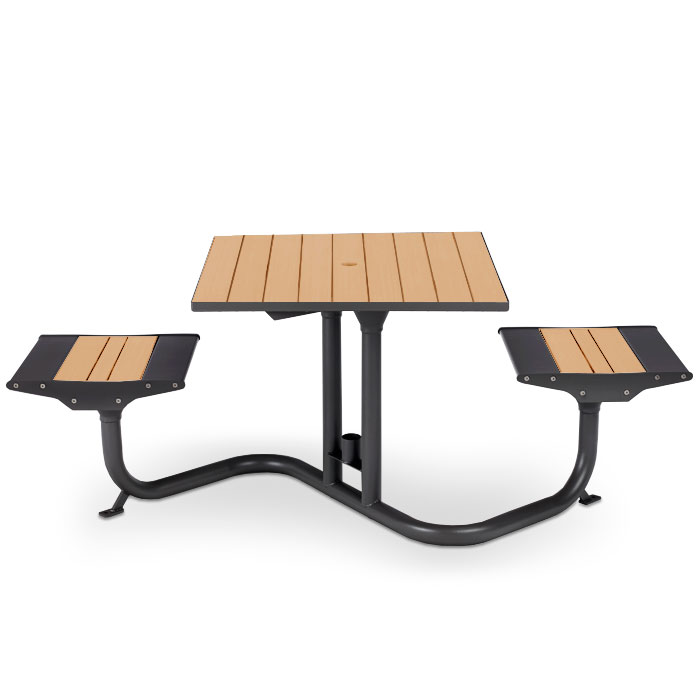 BH1800R  Beacon Hill Collection Recycled Plastic Table with (2) Flat Seats