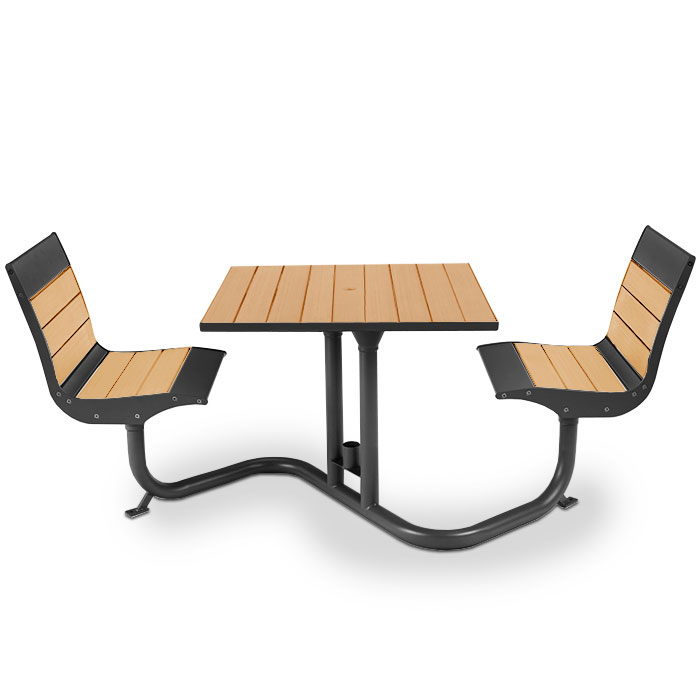 BH1801R  Beacon Hill Collection Recycled Plastic Table with (2) Fixed Contour Seats