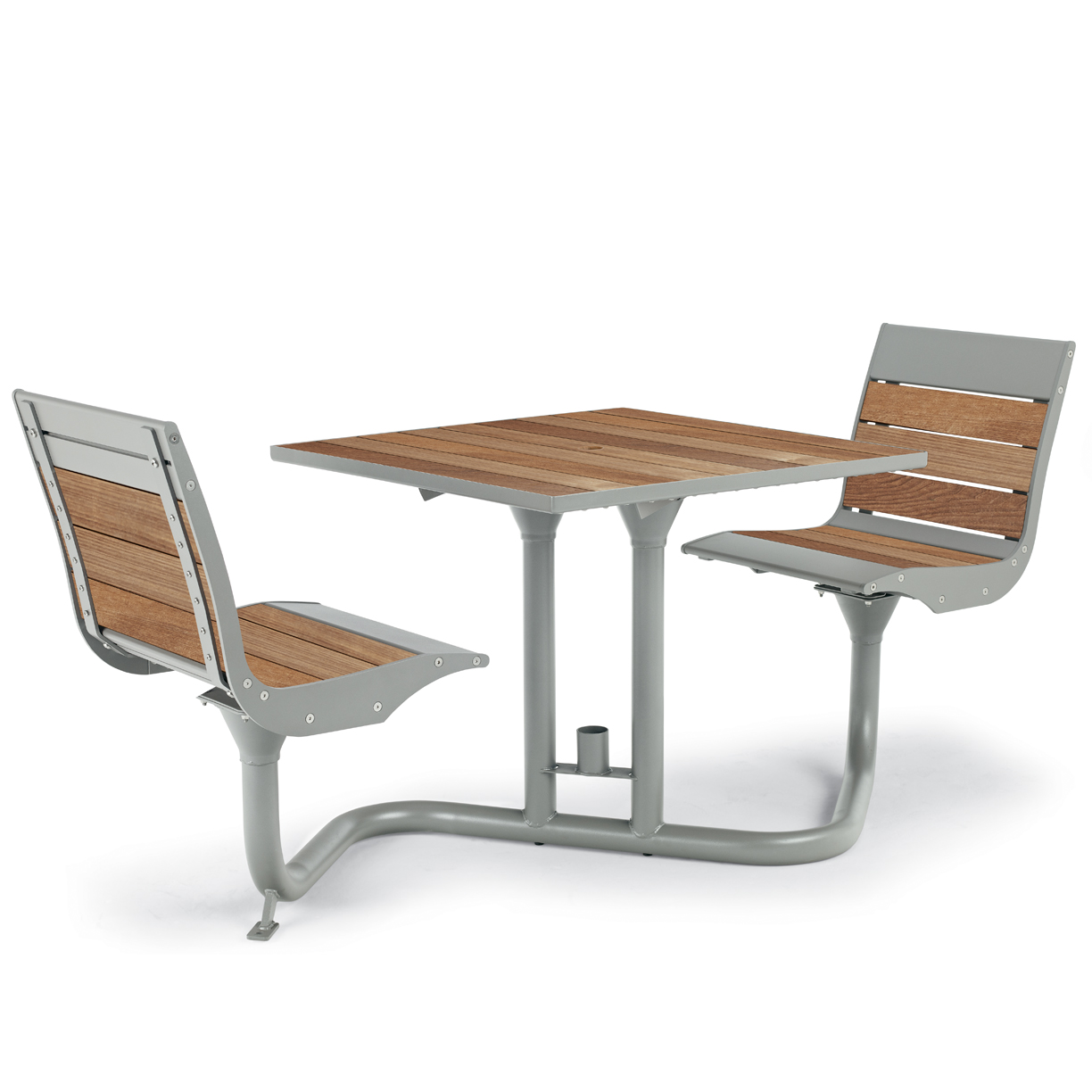 BH1801T  Beacon Hill Collection Thermony Slat Bistro Table with (2) Contour Seats