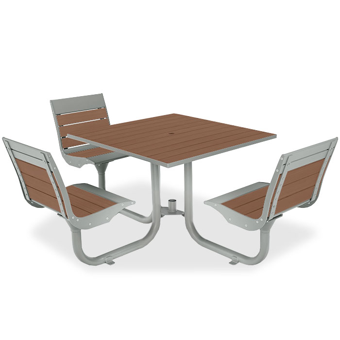 BH1830R  Beacon Hill Collection ADA Compliant Recycled Plastic Table with (3) Fixed Contour Seats