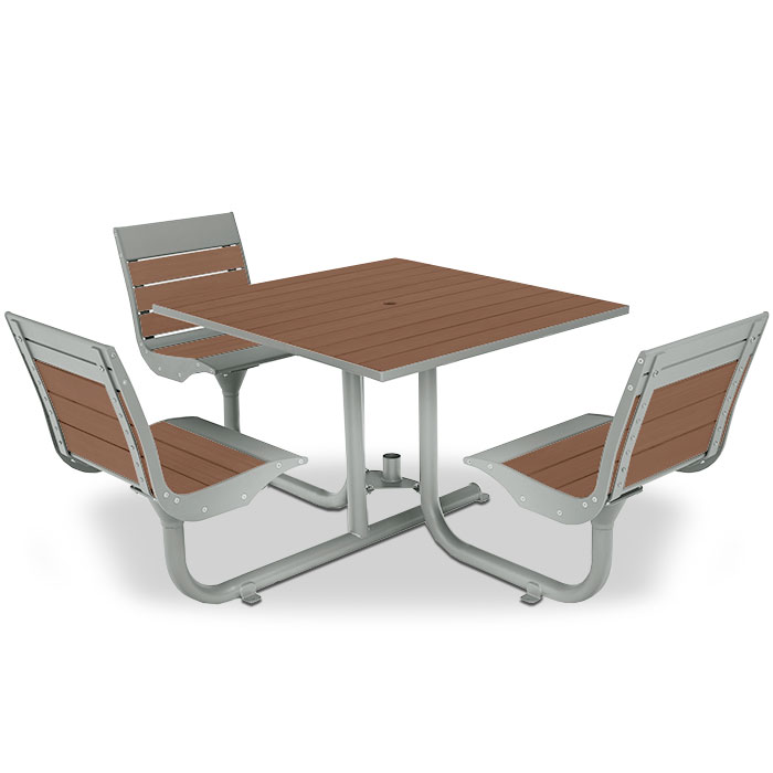 BH1830SR  Beacon Hill Collection ADA Compliant Recycled Plastic Table with (3) Swivel Contour Seats
