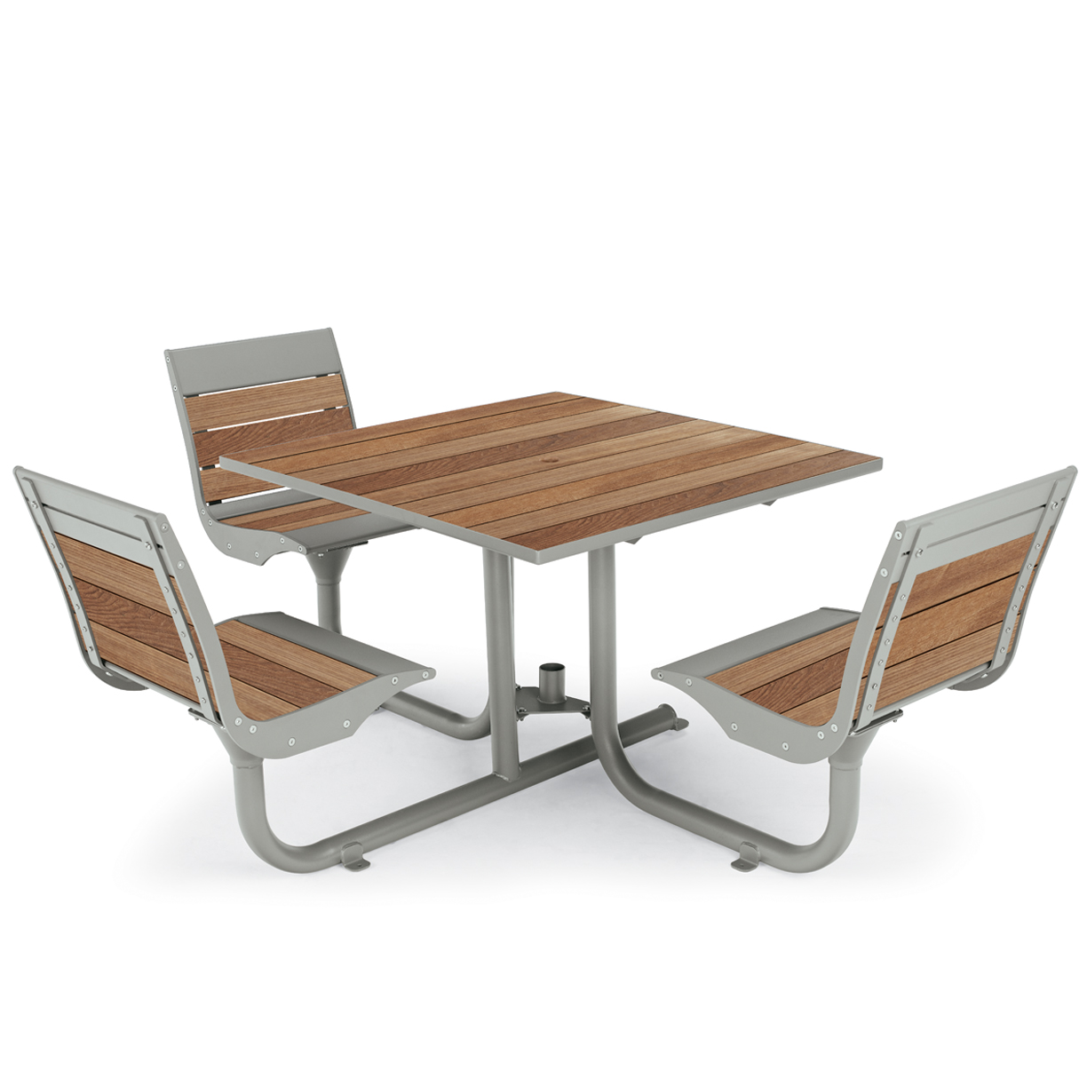 BH1830ST  Beacon Hill Collection Thermony Slat ADA Compliant Table with (3) Swivel Contour Seats