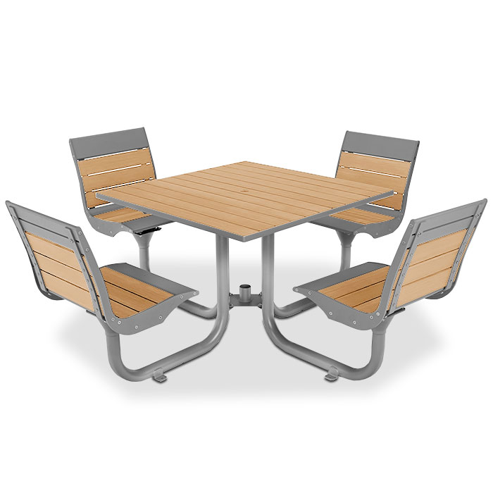 BH1840SR  Beacon Hill Collection Recycled Plastic Table with (4) Swivel Contour Seats