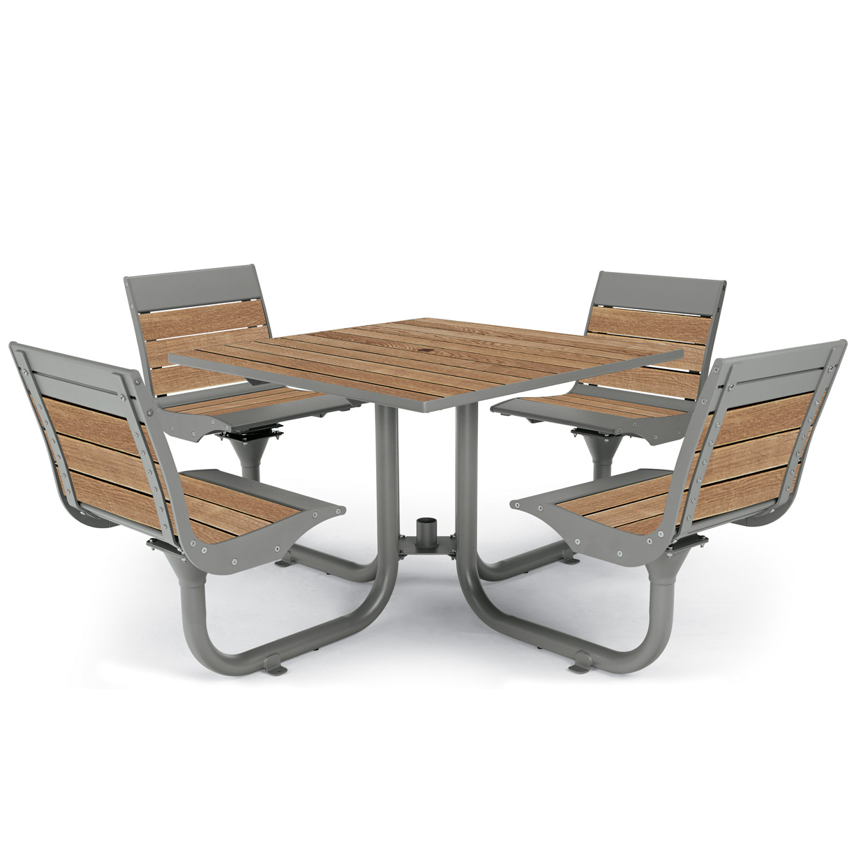 BH1840T  Beacon Hill Collection Thermony Slat Table with (4) Contour Seats
