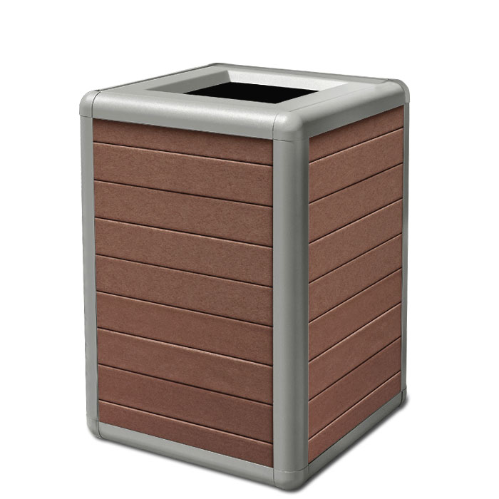 BH1845R  Beacon Hill Collection 45 Gallon Recycled Plastic Open Top Trash Receptacle