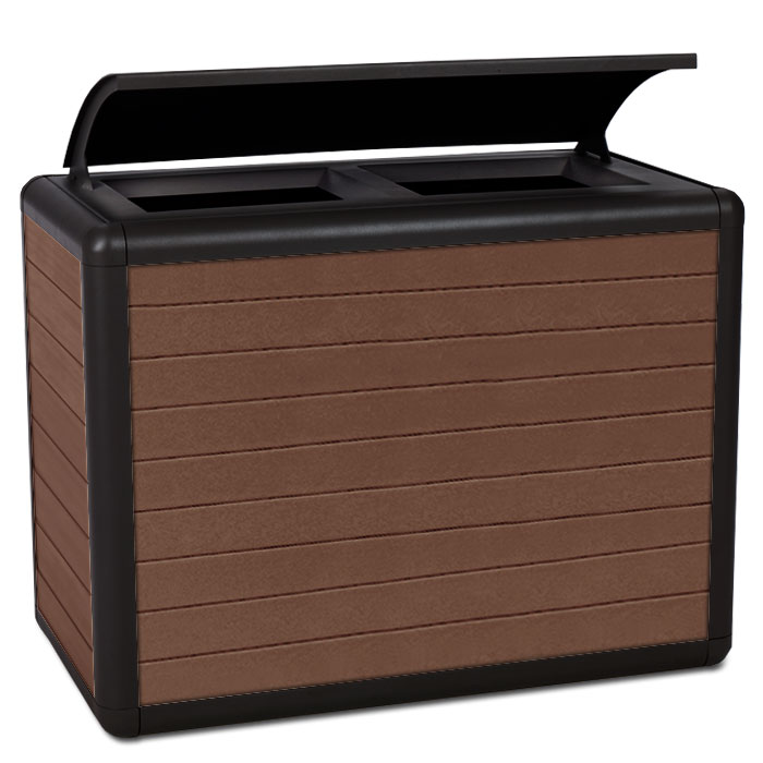 BH1870RBT  Beacon Hill Collection 70 Gallon Dual Recycled Plastic Trash Receptacles with Bonnet Top