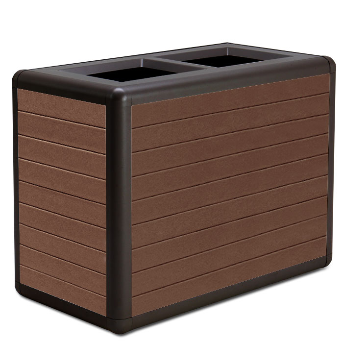 BH1870R  Beacon Hill Collection 70 Gallon Dual Recycled Plastic Open Top Trash Receptacles
