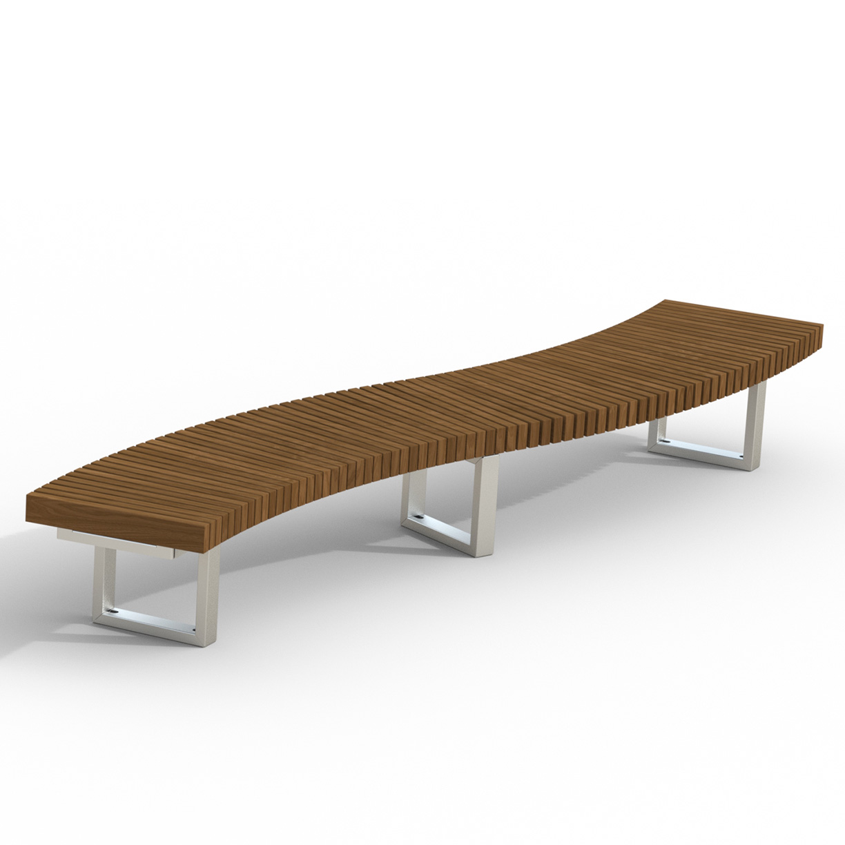 INF24S12x2T  Infinity Collection Alternating 30 Degree Curves Thermory Slat Serpentine Bench