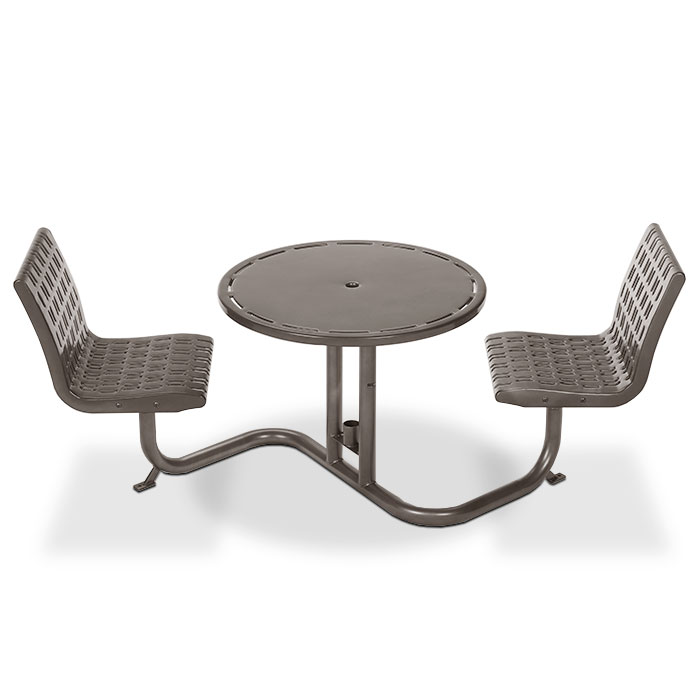 L1701  Cosmopolitan Bistro Table with (2) Fixed Contour Seats