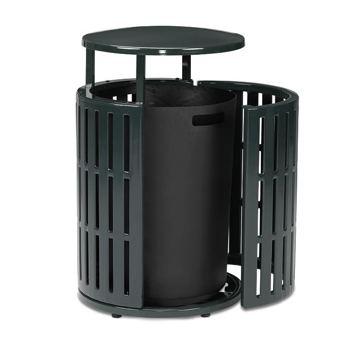 L2055  Latitude Collection 55 Gallon Trash Receptacle with Side Door & Bonnet Top
