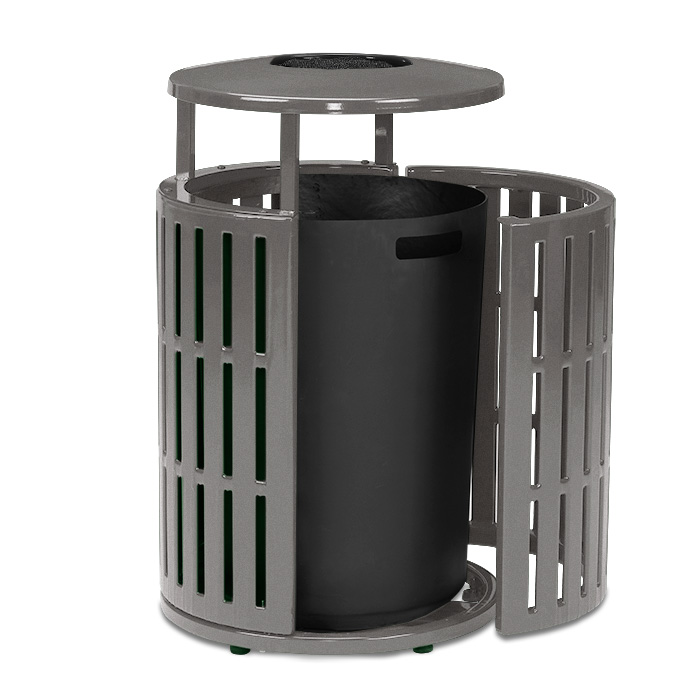 L2055A  Latitude Collection 55 Gallon Trash Receptacle with Side Door & Ash Bonnet Top