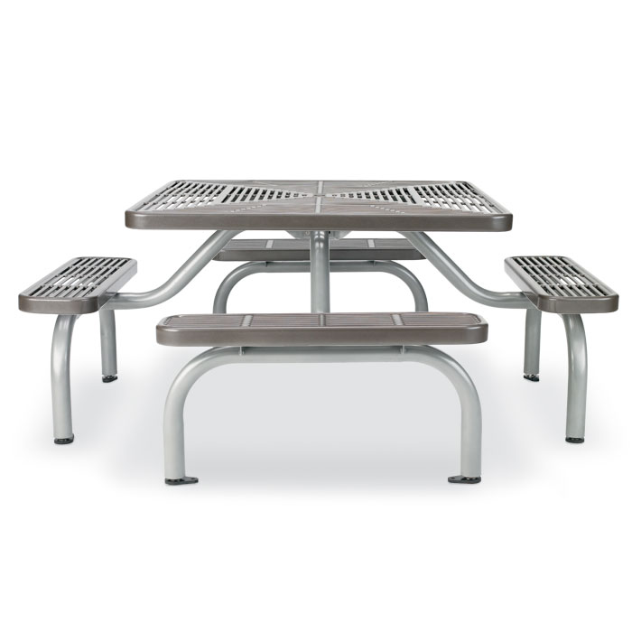 L3015  Ultra Collection Slotted Steel Square Picnic Table with (4) Bench Seats