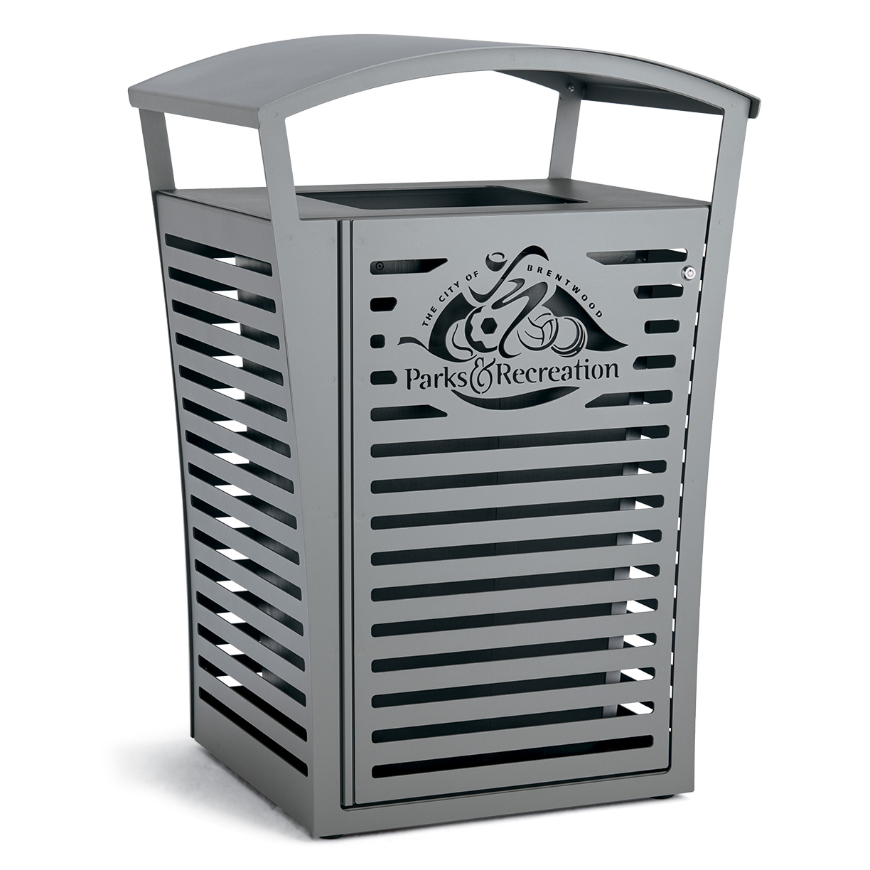 LEX45-CUST Exposition Collection 45 Gallon Receptacle with Custom Logo Side Door