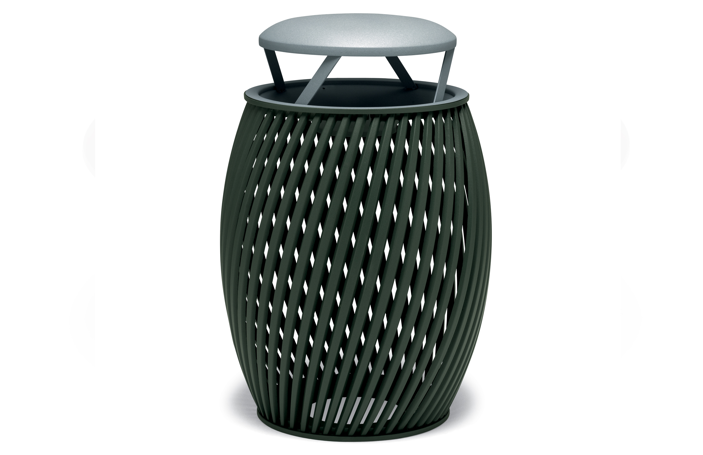 UrbanScape Style A Spiral Slat 32 Gallon Trash Receptacle With Bonnet Top