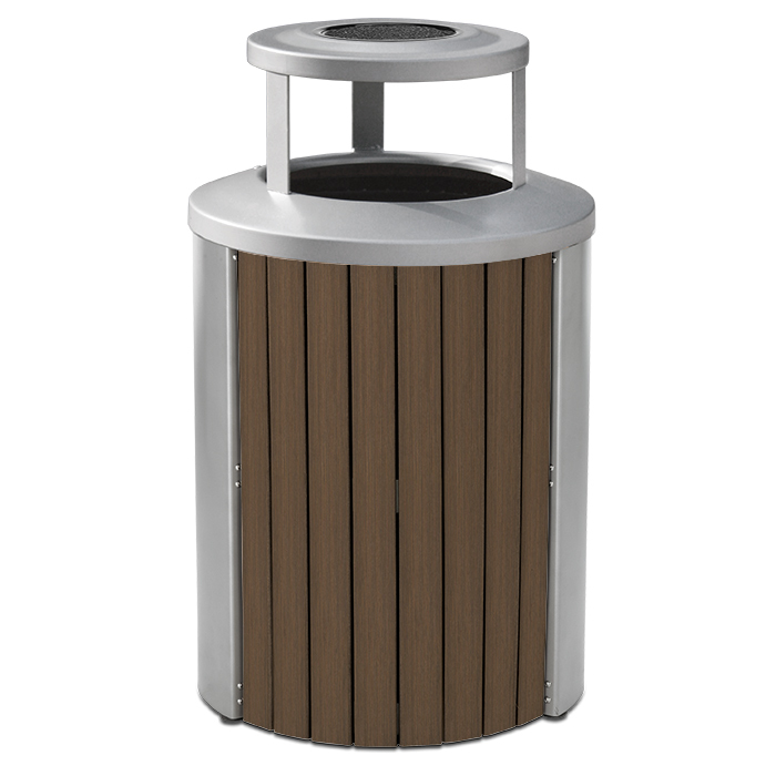 TL35BTA  Madison Collection 35 Gallon Bamboo Trash Receptacle with Ash Bonnet Top