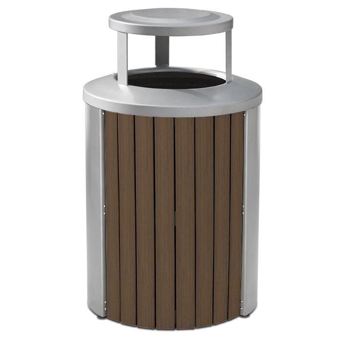 TL35BT  Madison Collection 35 Gallon Bamboo Trash Receptacle with Bonnet Top