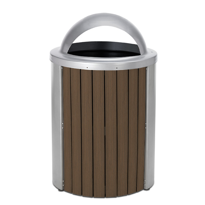 TL35DT  Madison Collection 35 Gallon Bamboo Trash Receptacle with Open Dome Top